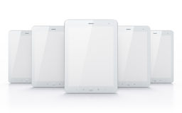 White tablets on white background. 3d render. Just place your images on the screens Stock Photo