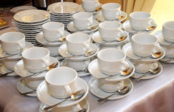 White tableware. Tableware on the table in restaurant Stock Photo