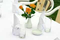 White tableware and roses Stock Photo