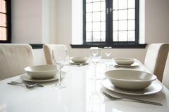 White tableware on the table Royalty Free Stock Photography