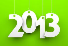 White tags with 2013 on orange background Royalty Free Stock Images
