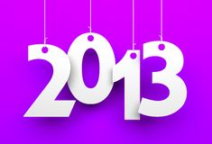 White tags with 2013 on purple background Stock Photo