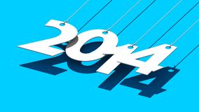 White tags with 2014 on blue background. Illustration for New Year and Christmas Royalty Free Stock Photo