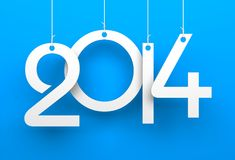 White tags with 2014 on blue background Royalty Free Stock Photos