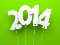 White tags with 2014 on green background. Illustration for New Year and Christmas Stock Photography