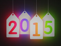 White tags with 2015. Neon edition Royalty Free Stock Photo