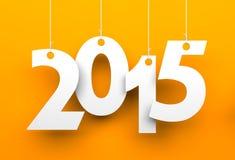 White tags with 2015. On orange background Stock Photo