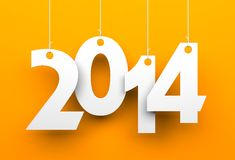 White tags with 2014 on orange background. Illustration for New Year and Christmas Stock Photo