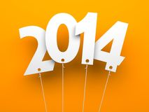 White tags with 2014 on orange background. Illustration for New Year and Christmas Royalty Free Stock Photos