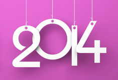 White tags with 2014 on purple background Royalty Free Stock Photography