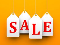 White tags with word sale on orange background Royalty Free Stock Image