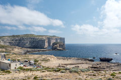 White tall cliffs at the coast of Gozo Island Royalty Free Stock Photography