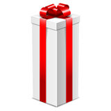 White tall gift box with red bow isolated on white, Royalty Free Stock Photography