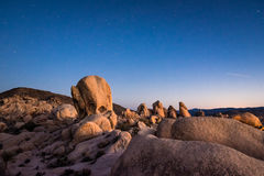 White Tank campground in Joshua Tree National Park at night Royalty Free Stock Photography