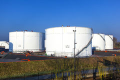 White tank in tank farm. With blue sky stock images