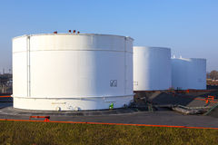 White tank in tank farm Stock Images