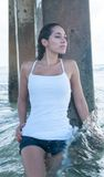 White tank top at the beach Stock Photos