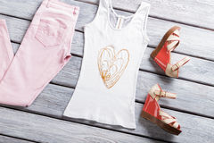 White tank top and sandals. Royalty Free Stock Photo
