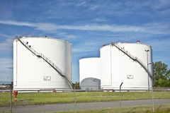 White Tanks In Tank Farm With Blue Sky Royalty Free Stock Photo