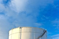 White tanks in tank farm with snow in winter Stock Photography