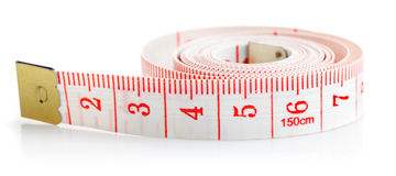 White tape measure with red figures Stock Photos