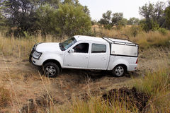 White Tata 2.2l Dicor on 4x4 Course Stock Images