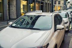 White taxi in Milan Stock Photos