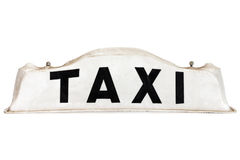 White taxi roof sign isolated on white Royalty Free Stock Image