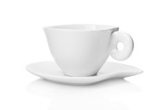 White tea cup and saucer. Isolated on white background Stock Photos