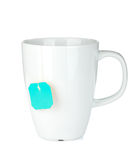 White tea cup with teabag Royalty Free Stock Image