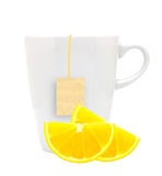 White tea cup with teabag and lemon slices.  on white ba Royalty Free Stock Photos