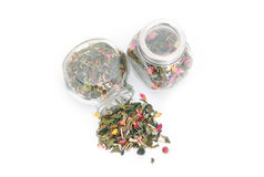 White tea with dry flower in jars Royalty Free Stock Photos