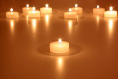 White tea lights as a Christmas decoration Stock Images