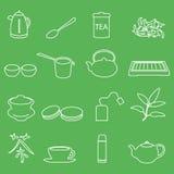 White tea outline icons on green background Royalty Free Stock Photos