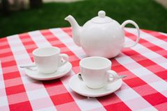 White tea service for two. Tea pair with a teapot and a milk jug on a bright multi-colored checkered tablecloth. White tea service for two. Tea pair with a stock photography
