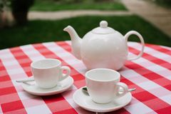 White tea service for two. Tea pair with a teapot and a milk jug on a bright multi-colored checkered tablecloth. White tea service for two. Tea pair with a royalty free stock images