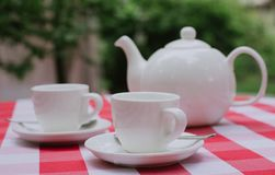 White tea service for two. Tea pair with a teapot and a milk jug on a bright multi-colored checkered tablecloth. White tea service for two. Tea pair with a stock photo