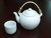 White tea set stock photo