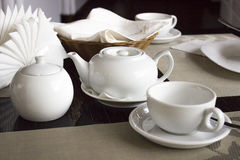 White tea set. On the table in the restaurant Stock Photos