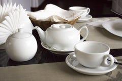 White tea set Stock Photos