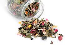 White Tea Supplemented With Dry Fruits And Flowers Stock Photo
