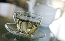 White Tea in transparent cup Royalty Free Stock Image