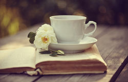 White tea �up with a flowers of dogrose on an open book Royalty Free Stock Photo