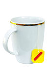 White teacup with teabag ready Stock Photo