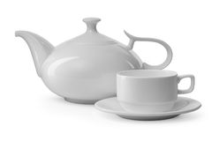 White teacup and teapot Royalty Free Stock Photos