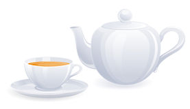 White teacup and teapot Royalty Free Stock Photos