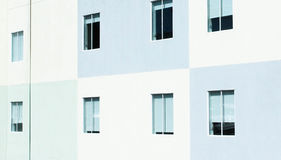 White and Teal Painted Windows Stock Photo