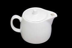 White teapot on a black background Royalty Free Stock Photo