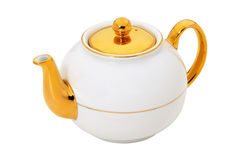 White teapot with gold  Royalty Free Stock Images