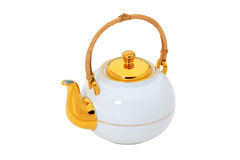 White teapot with gold and wooden handle  isolated with clipping Royalty Free Stock Photography
